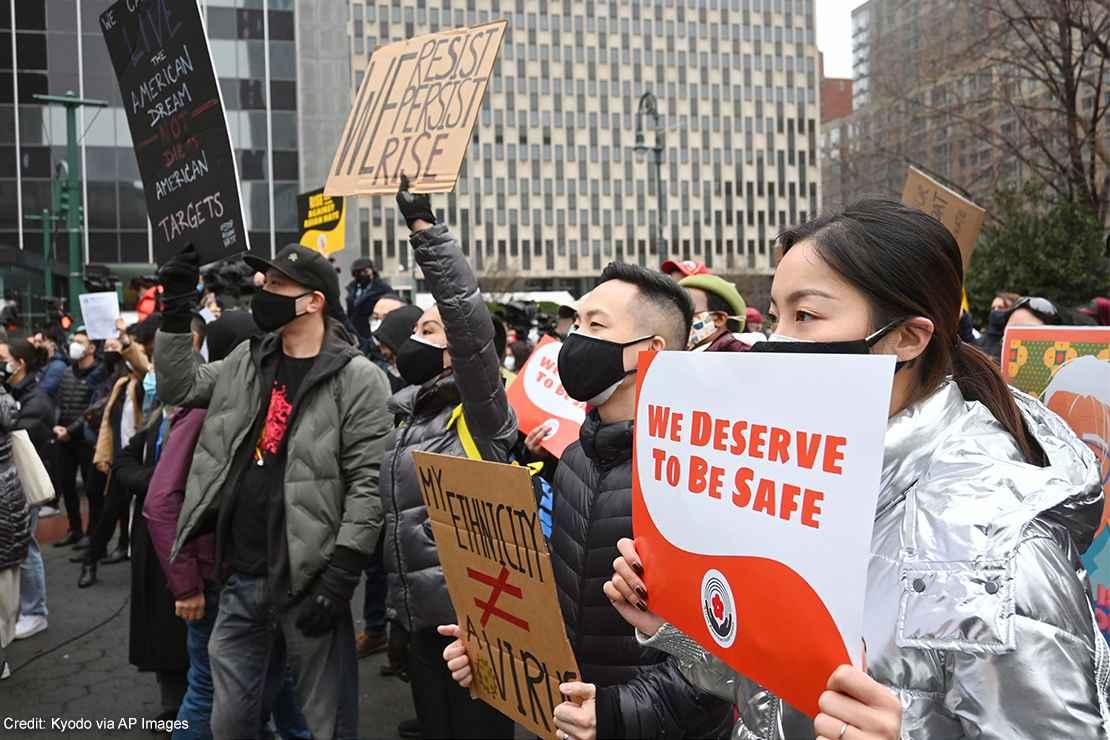 Demonstrators protesting anti-Asian racism.