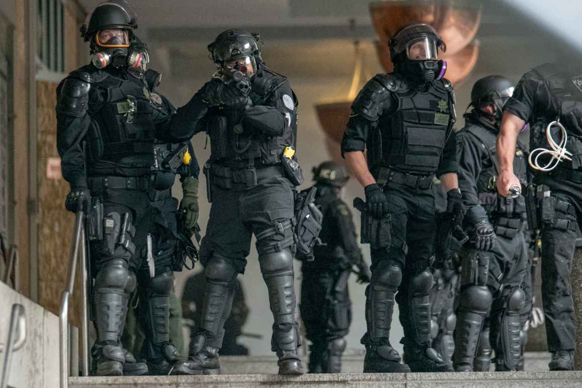 police in riot gear on May 31, 2020 by Doug Brown/ACLU of Oregon
