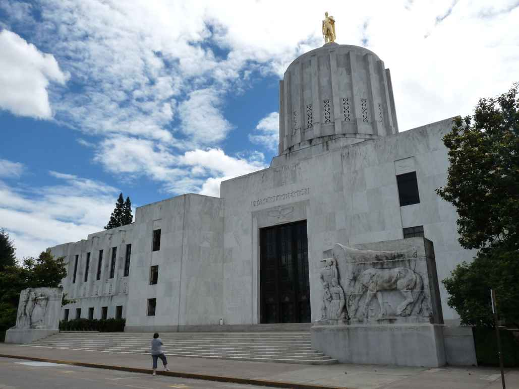 The front of the Oregon State Capitol building in Salem, OR. Taken in Aug 2010.