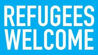 Text reads 'Refugees Welcome'