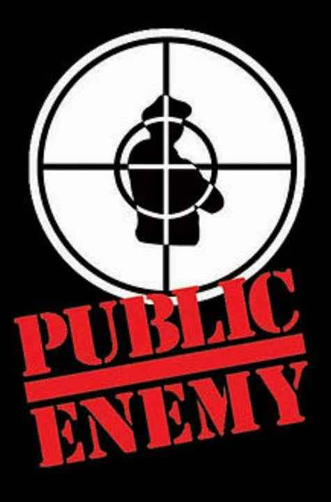 Logo for band Public Enemy, an illustration of a police officer in crosshairs