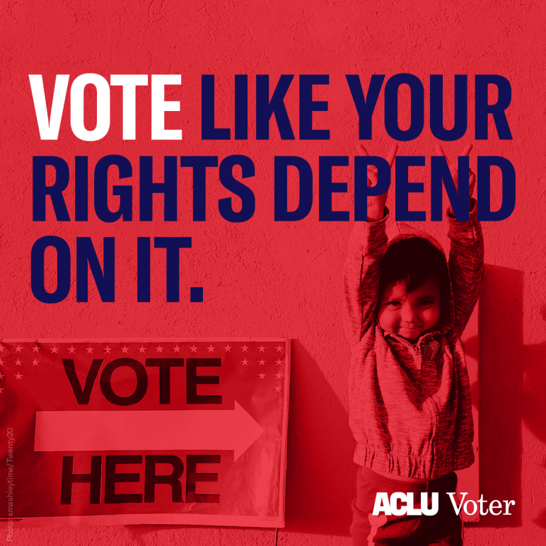 "vote like your rights depend on it graphic with kid and sign that says ""vote here"""