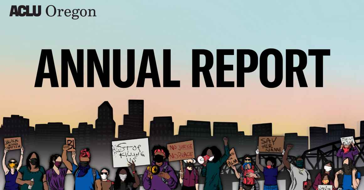 "banner image with the words ""Annual Report"" and a graphic of people protesting with signs"