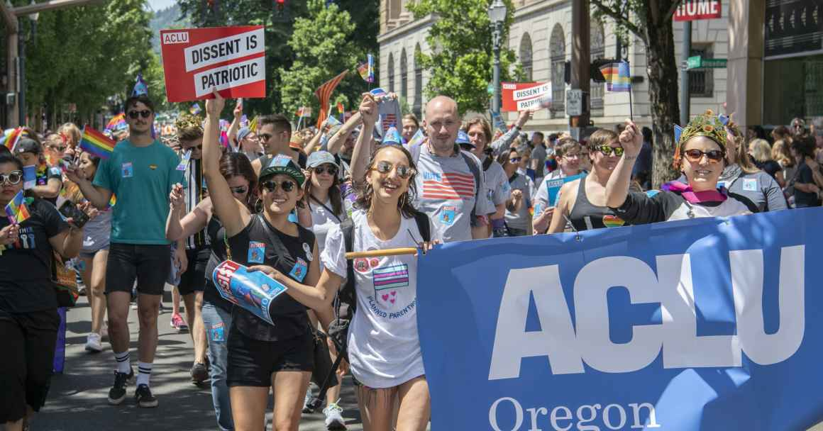 ACLU of Oregon members and supporters march in the Pride Northwest Parade!
